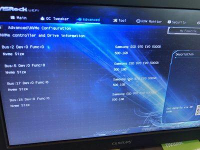 NVMe SSD を4枚認識